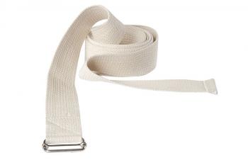 Ремень для йоги хлопковый Де люкс усиленный. Ширина - 4 см белый