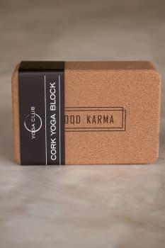 Кирпич для йоги из пробки с принтом Good Karma 7,5х15х22,5 см Yoga Club
