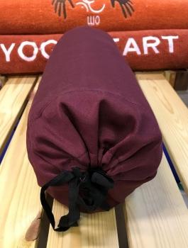 Валик из гречихи хлопковый чехол с завязками бордовый