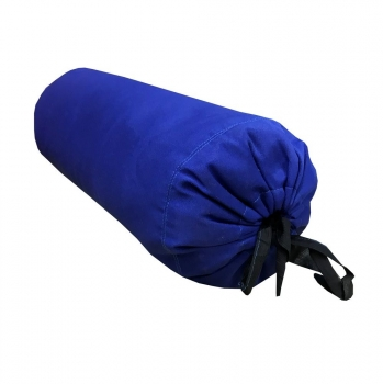 Валик из гречихи хлопковый чехол с завязками синий