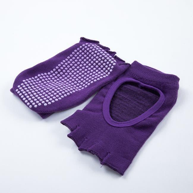 Носочки с вырезом для йоги фиолетовые Yogamat фото