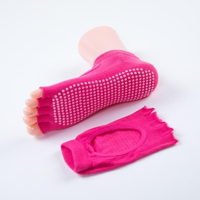 Носочки с вырезом и открытыми пальчиками для йоги розовые фото