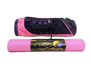 Сумка для йога-коврика Лотос черно-розовая