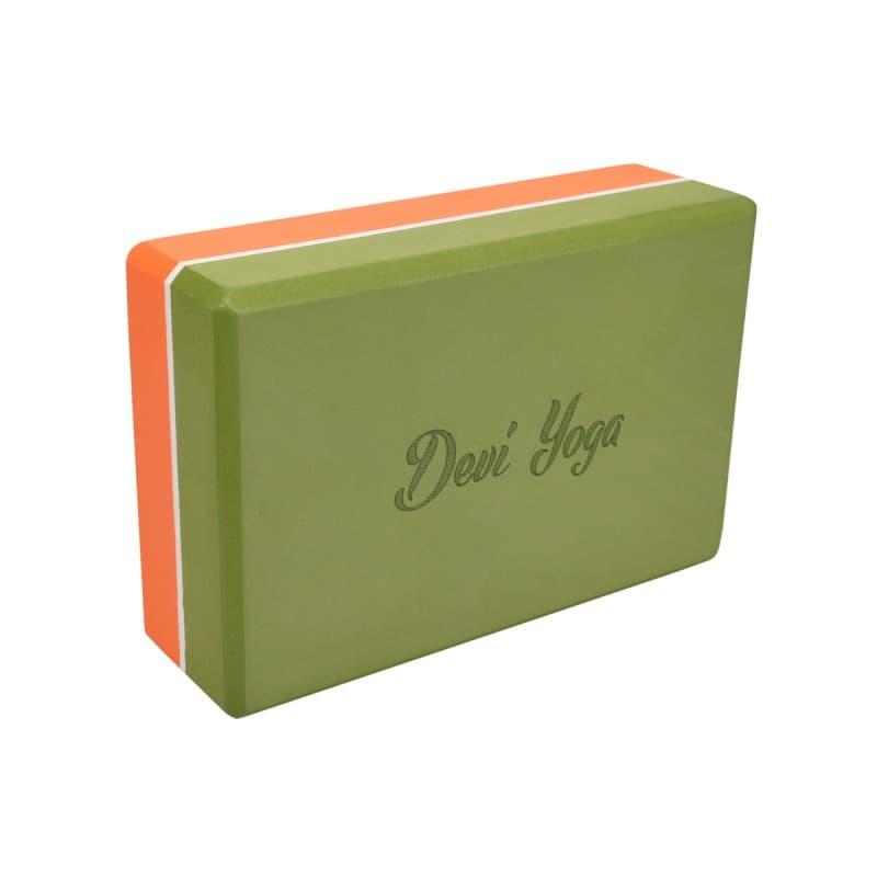 Блок (кирпич) для йоги из EVA пены 7,5x15x23 оранжево-зеленый Devi Yoga (под заказ из СПб)