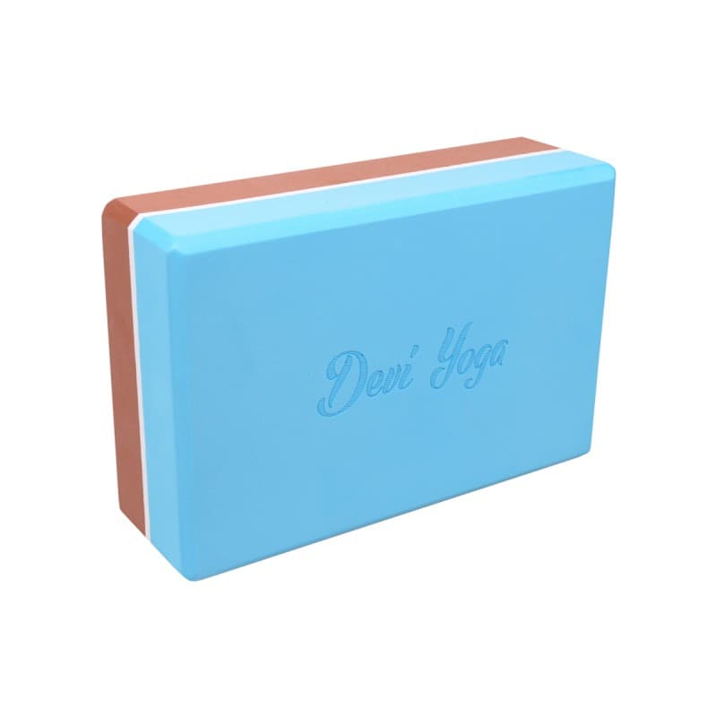 Блок (кирпич) для йоги из EVA пены 7,5x15x23 коричнево-голубой Devi Yoga (под заказ из СПб)