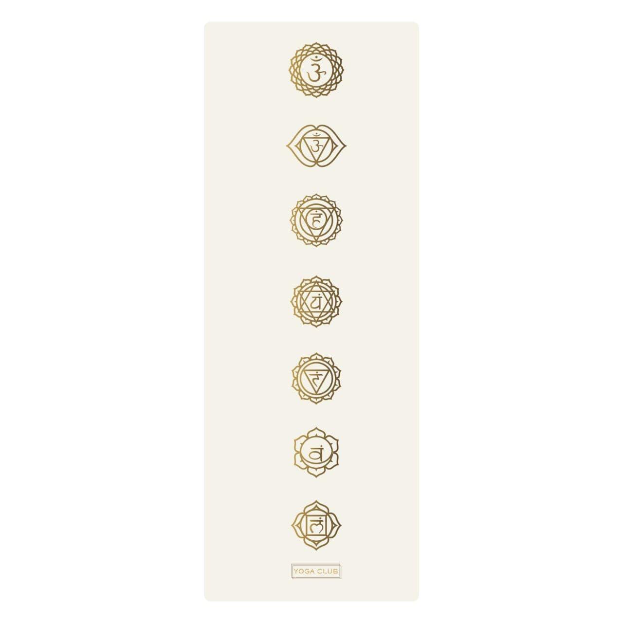 Коврик для йоги CHAKRAS GOLD WHITE 4,5мм 68x185см Yoga Club из каучука с покрытием non slip