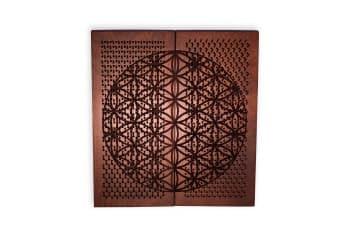 Доска Садху с гвоздями «Цветок жизни» медь (махагон)