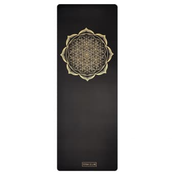 Коврик для йоги FLOWER GOLD BLACK 4,5мм 68x185см Yoga Club из каучука с покрытием non slip