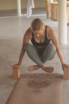 Кирпич для йоги из пробки с принтом FLOWER OF LIFE 7,5х15х22,5 см Yoga Club